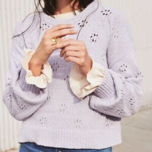 NWT Madewell lavender floral pointelle sweater